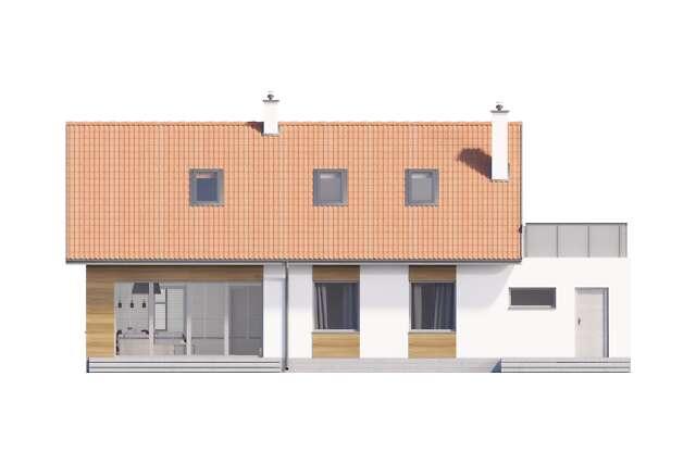 Zobacz powiększenie elewacji ogrodowej - projekt Royan V