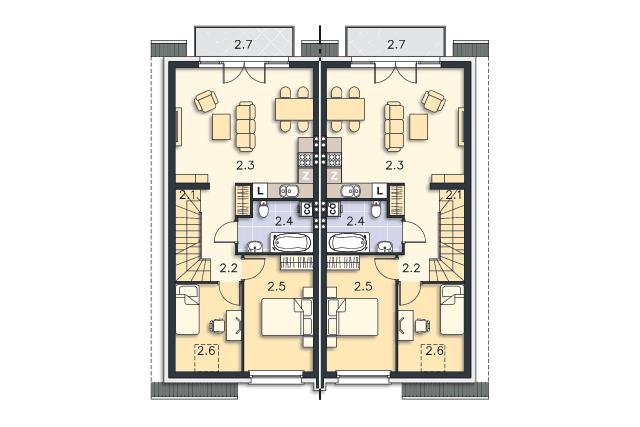 Zobacz powiększenie rzutu kondygnacji Piętro - projekt Fossano III