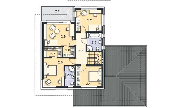 Rzut kondygnacji Piętro - projekt Melbourne