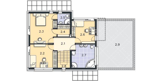 Rzut kondygnacji Piętro - projekt Belfast II