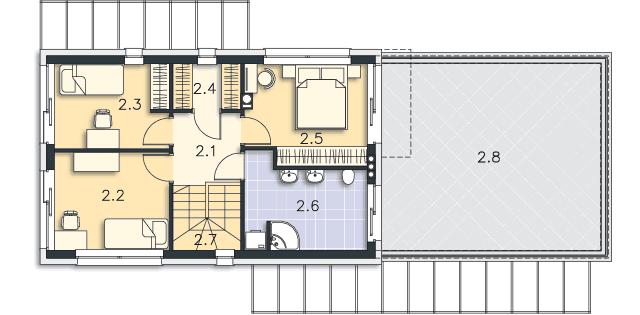 Rzut kondygnacji Piętro - projekt Belfast VI