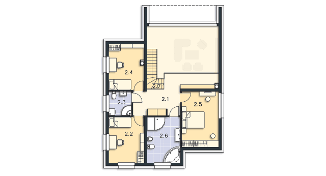Rzut kondygnacji Piętro - projekt Delft II