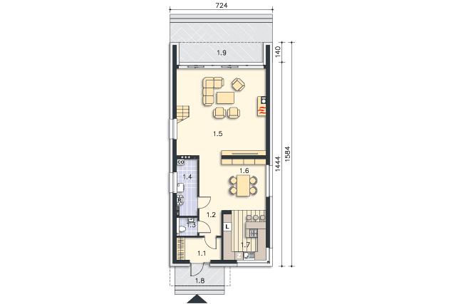 Rzut kondygnacji Parter - projekt Delft III