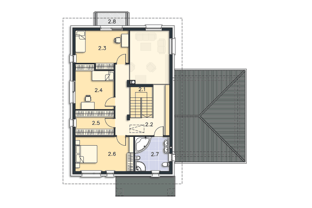 Zobacz powiększenie rzutu kondygnacji Piętro - projekt Arbon