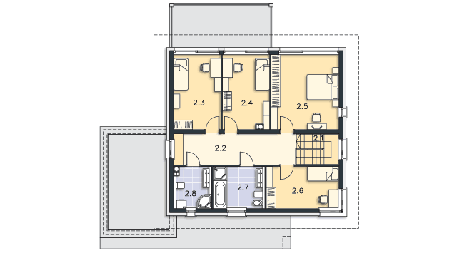 Rzut kondygnacji Piętro - projekt Carrara II