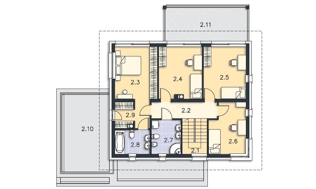 Rzut kondygnacji Piętro - projekt Carrara IV