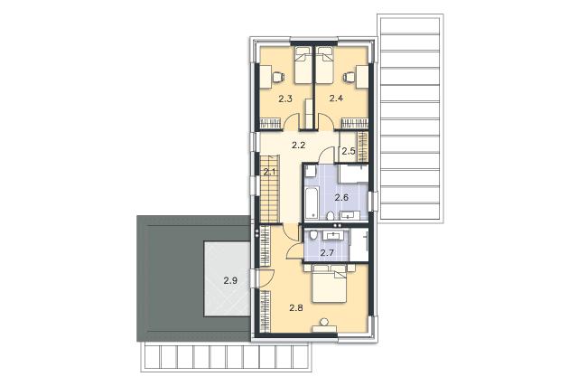 Zobacz powiększenie rzutu kondygnacji Piętro - projekt Dax