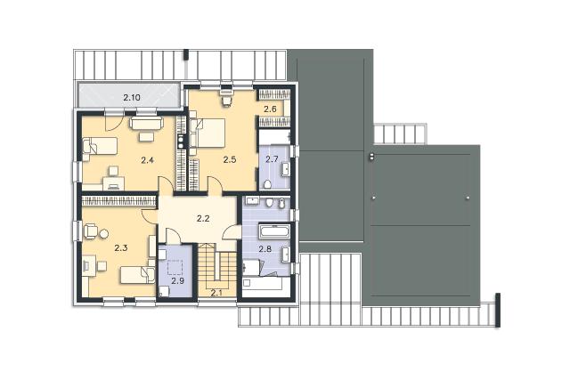 Zobacz powiększenie rzutu kondygnacji Piętro - projekt Tarrafal