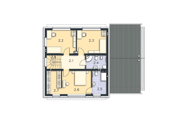 Zobacz powiększenie rzutu kondygnacji Piętro - projekt Skagen III
