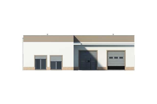 Zobacz powiększenie elewacji bocznej lewej - projekt Budynek usługowy