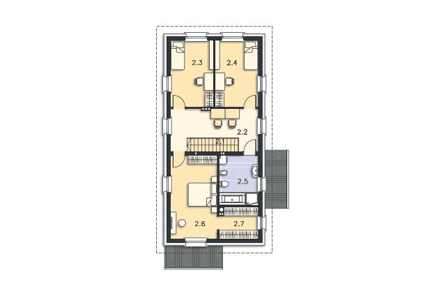 Zobacz powiększenie rzutu kondygnacji Piętro - projekt Brunico