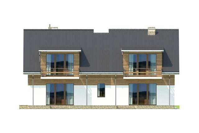 Zobacz powiększenie elewacji ogrodowej - projekt Budynek agroturystyczny Brzoza
