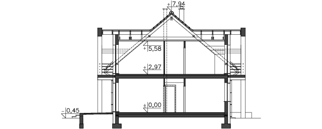 Przekrój - projekt Budynek agroturystyczny Brzoza 2