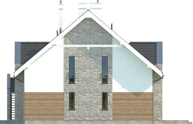 Elewacja boczna prawa - projekt Budynek agroturystyczny Dąb