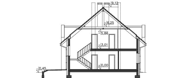 Przekrój - projekt Budynek agroturystyczny Dąb