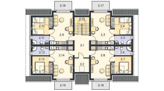 Rzut kondygnacji Poddasze - projekt Budynek agroturystyczny Dąb 3
