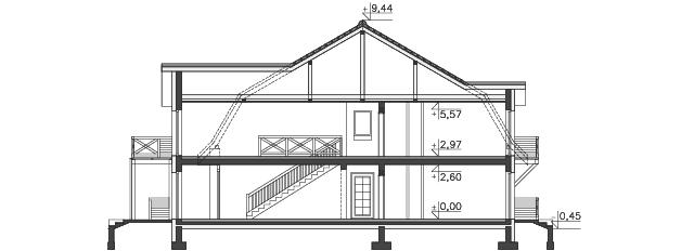 Przekrój - projekt Budynek wypoczynkowy Ambrowiec