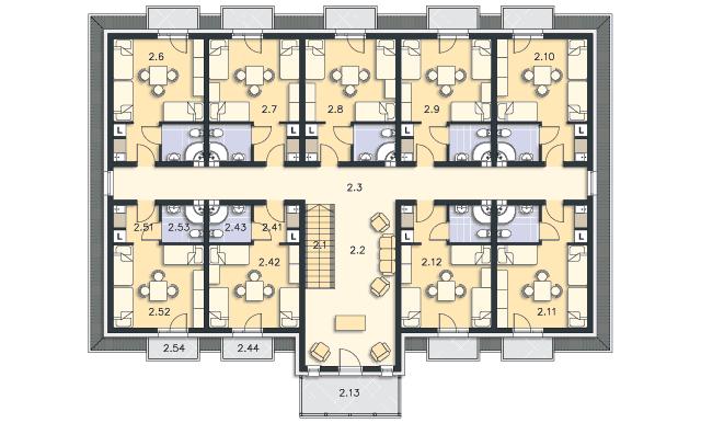 Rzut kondygnacji Poddasze - projekt Budynek wypoczynkowy Ambrowiec