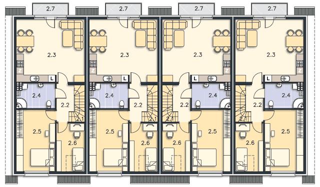 Rzut kondygnacji Piętro (mieszkanie 2) - projekt Belize
