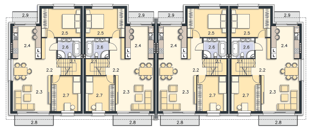 Rzut kondygnacji Piętro - projekt Liberec
